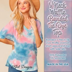 V NECK WAFFLE BANDED TIE DYE TOP